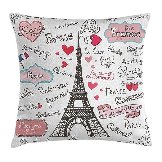 Torre Eiffel Throw Pillow Cojín, Paris Símbolos Letras ...