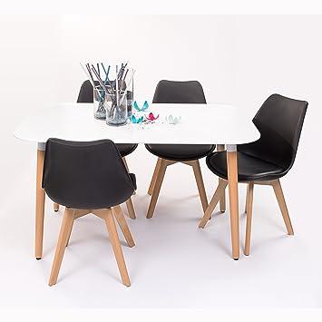 Conjunto de Mesa de Cocina NORDIK 130x80 + 4 sillas Day de diseño nórdico-Scandi - (Negro)