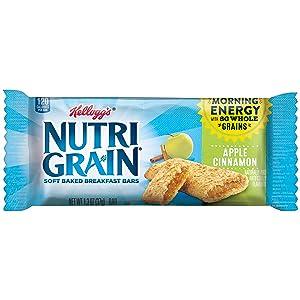 Kellogg's Nutri-Grain, Soft Baked Breakfast Bars, Apple Cinnamon, Made with Whole Grain, 20.8 oz (Pack of 3, 48 bars)