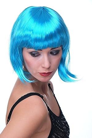 WIG ME UP ® - Peluca corta de pelo bob color azul claro fiesta disco GO