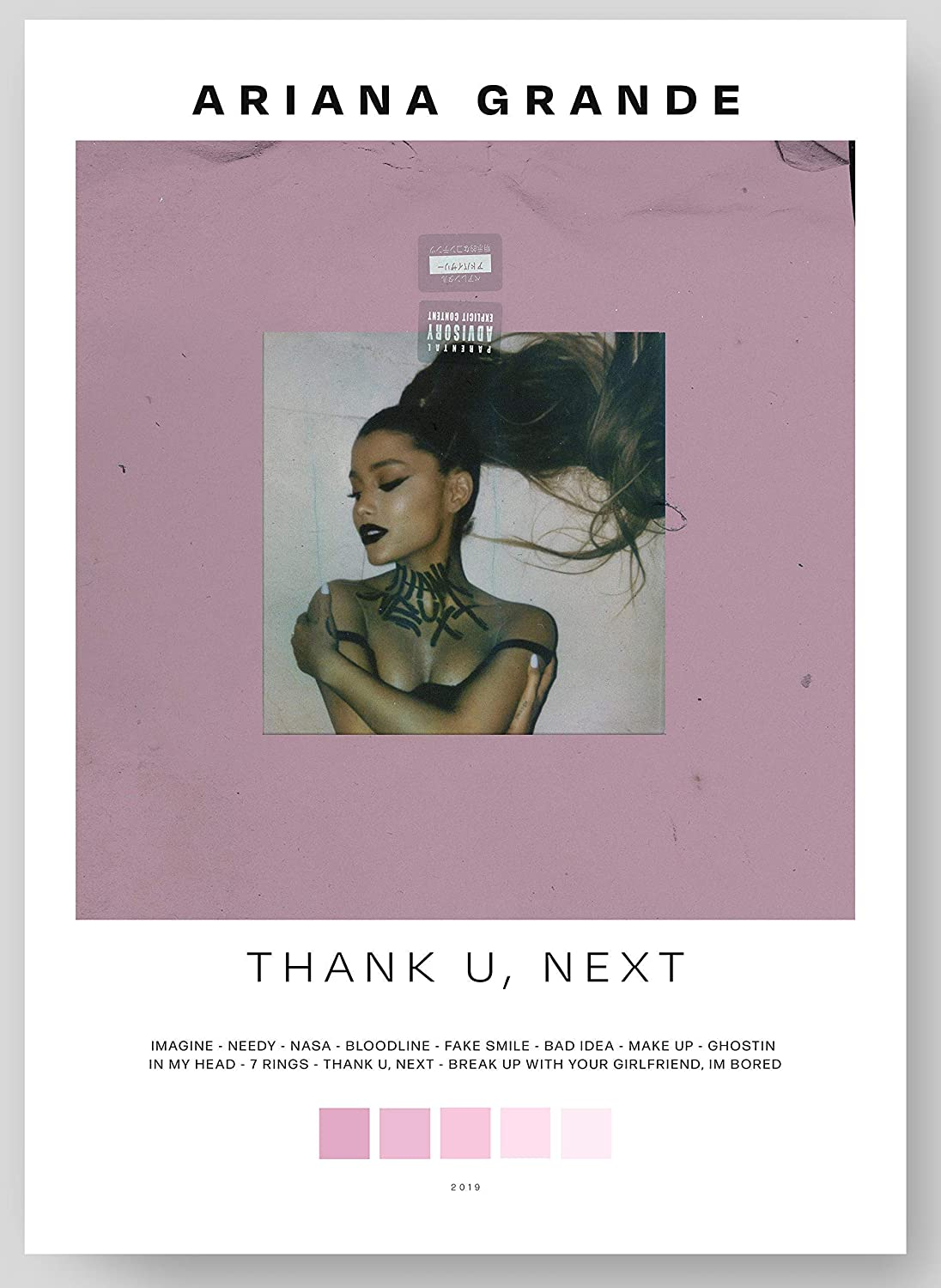 """Ariana Grande - Thank U, Next Album Cover Poster Print With Track List and Color Tiles - 11"""" x 17"""" inches Ready to Frame - Wall Art"""