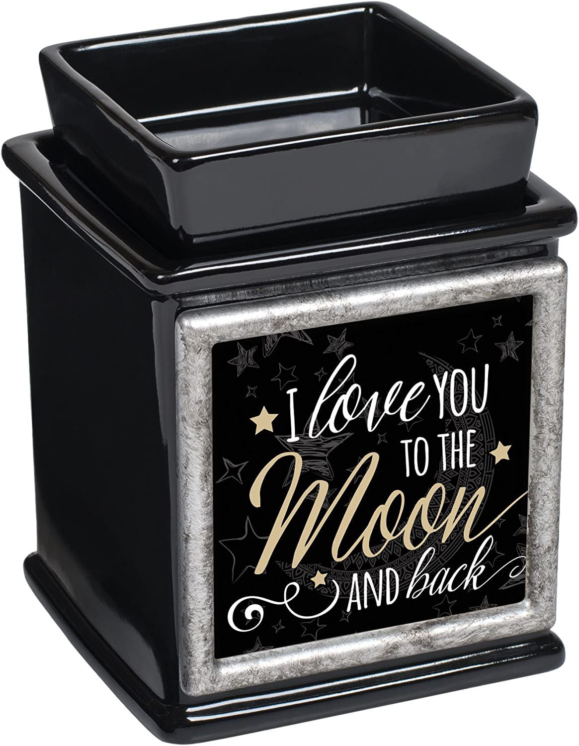 Elanze Designs Love You to The Moon Ceramic Glossy Black Interchangeable Photo Frame Candle Wax Oil Warmer