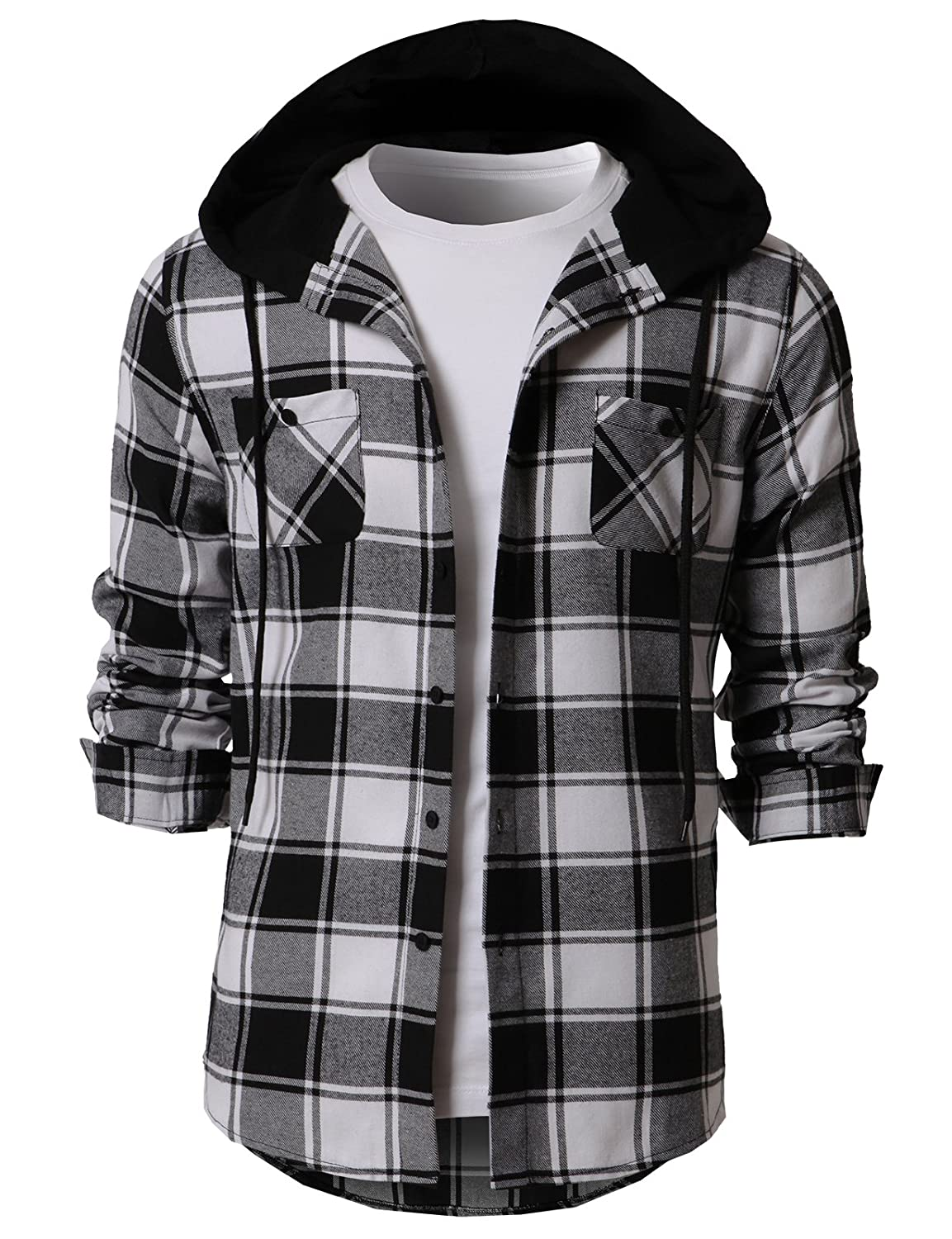 8863f501 H2H Mens Casual Hoodie Jackets Check Patterned Long Sleeve with Front  Pockets at Amazon Men's Clothing store: