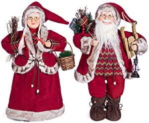 Yeeping Christmas Santa Figurines, Hand Crafted Santa Claus, 2020 Style, Father and Mother Christmas, Santa Doll, Santa Decor, Santa Toy, Christmas Decoration, One Pair Two Figurines, 18 Inch, Red