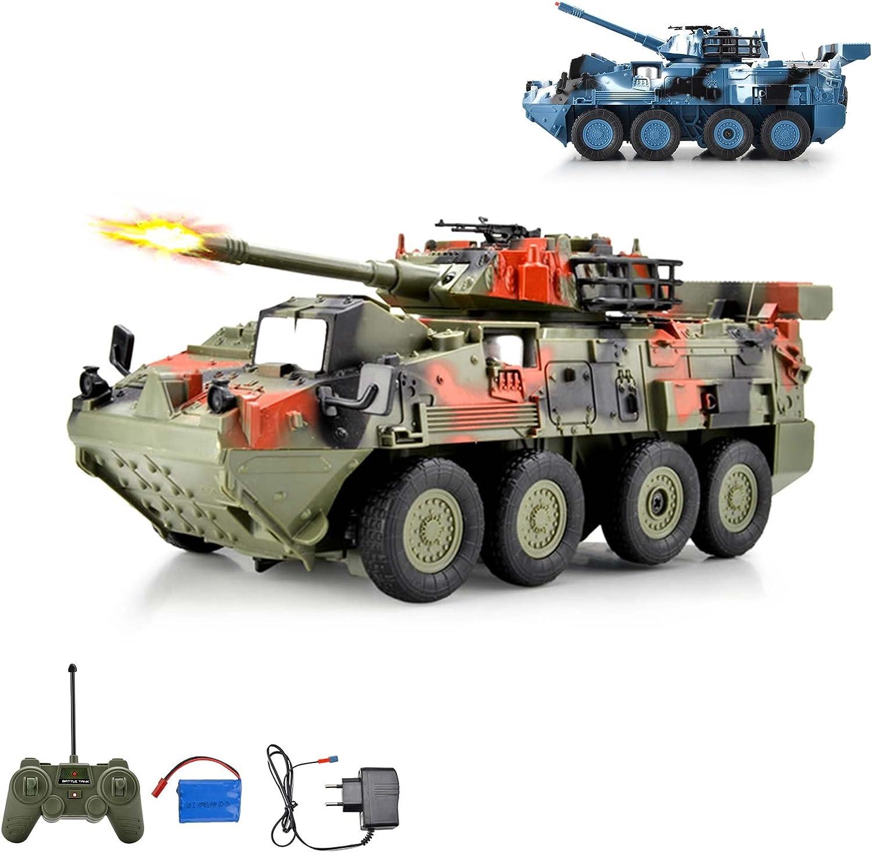 Leopard tanque teledirigido Lucha carro vehículo militar, neumáticos con disparos Simulación y giratorio barem Torre para 180°, vehículos, Set completo Ink. Control remoto, batería y cargador