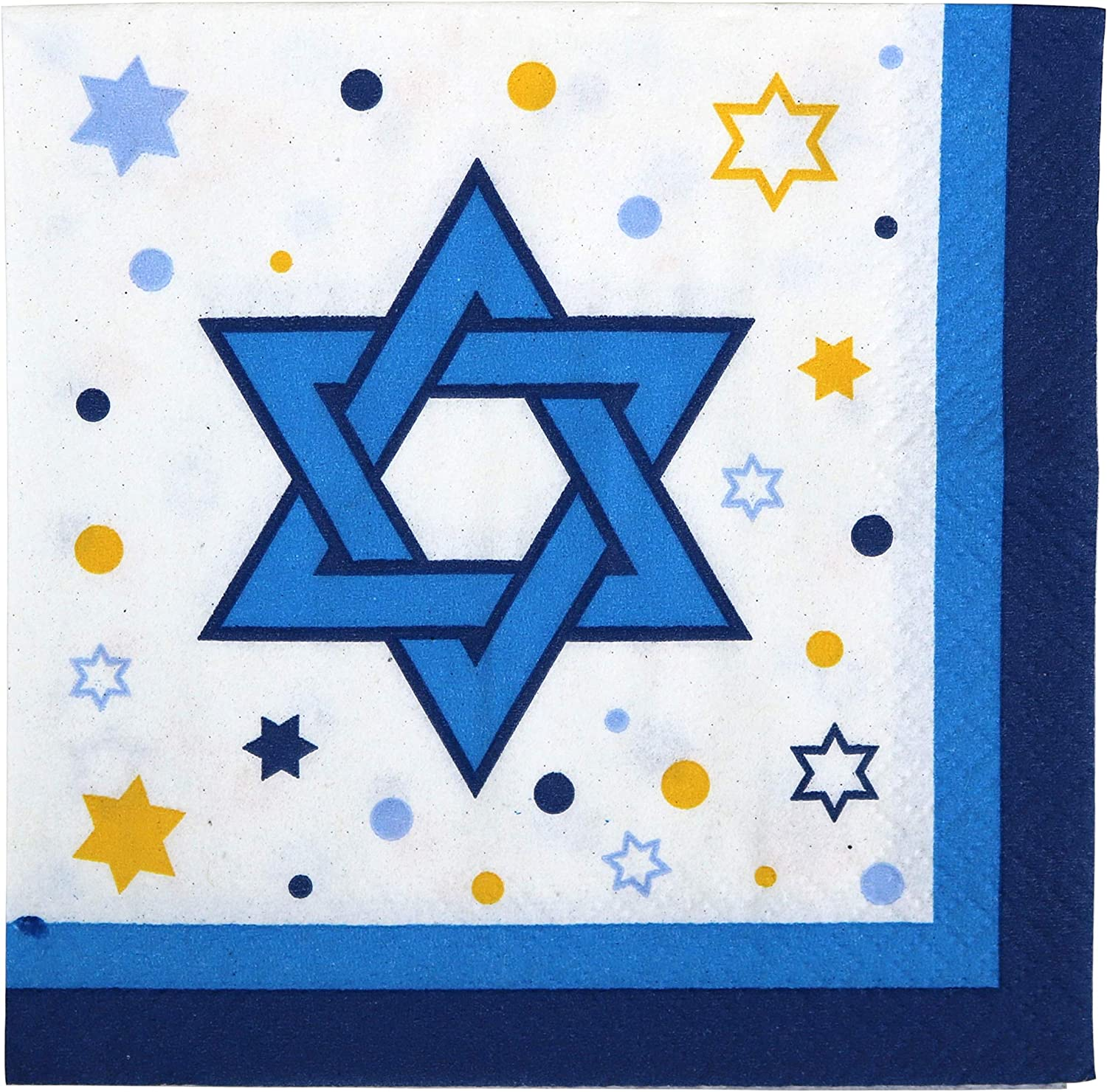 Iconikal Disposable Beverage Paper Party Napkins, Star of David, 72-Count