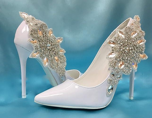 5c4841deb3 Amazon.com: Bridal Wedding Shoe Clips, Art Deco Shoe Accessory, Great  Gatsby Accessory, Crystal Rhinestone Shoes: Handmade