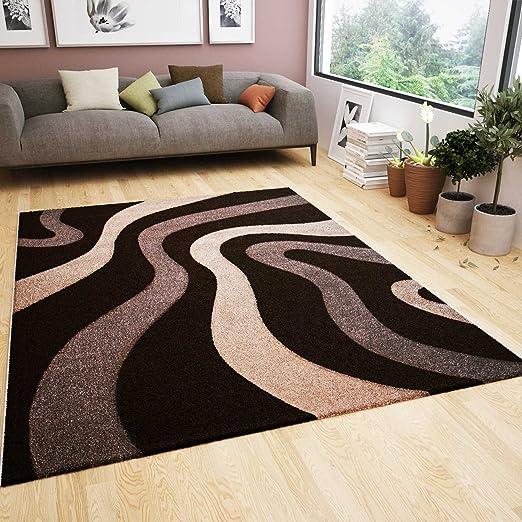Wohnzimmer Teppich Modern Braun Beige Wellen Muster Frisee Flauschig