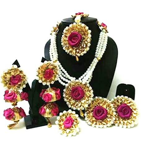 ca3e6c3d3 Buy QUVYARTS Non-Precious Metal Flower Gota Patti Jewellery Set with  Earrings, Maang Tika, Bracelets & Ring for Women's & Girls (7 Items) (Pink)  Online at ...