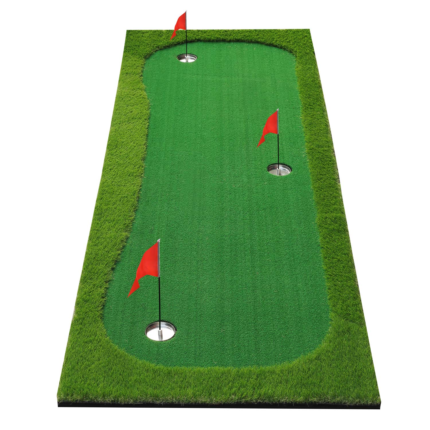 BOBURN Golf Putting Green/Mat-Golf Training Mat- Professional Golf Practice Mat- Green Long Challenging Putter for Indoor/Outdoor (Green, 3.3x10ft) by BOBURN