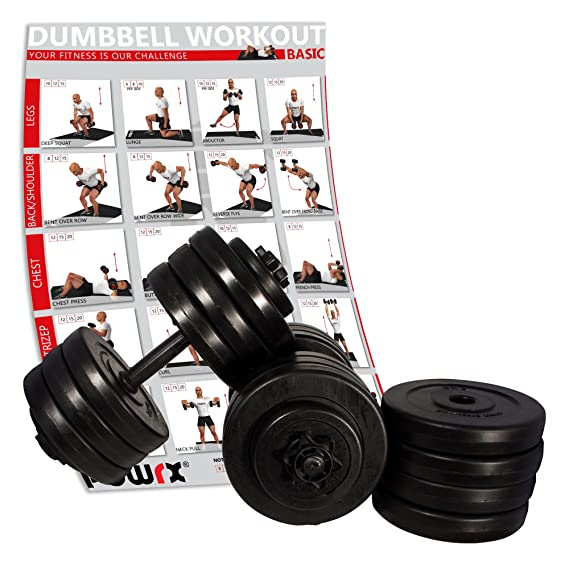 POWRX - Pesas par Incluye Workout I Mancuernas (2 Unidades, 20 kg, 30 kg 40 kg I Barras con Cierres moleteados, y Seguro, 2 x 15 kg INKL.