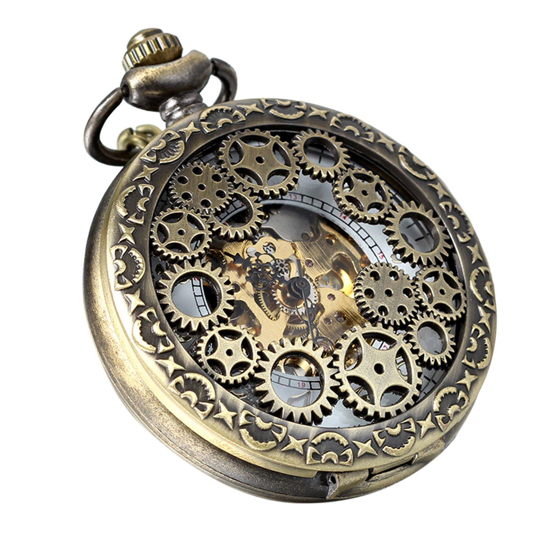 Avaner Reloj de Bolsillo Steampunk Vintage Reloj Mecanico de Engranajes Hueco Half Hunter, Reloj Bronce Números Arabigos, Buen: Amazon.es: Relojes