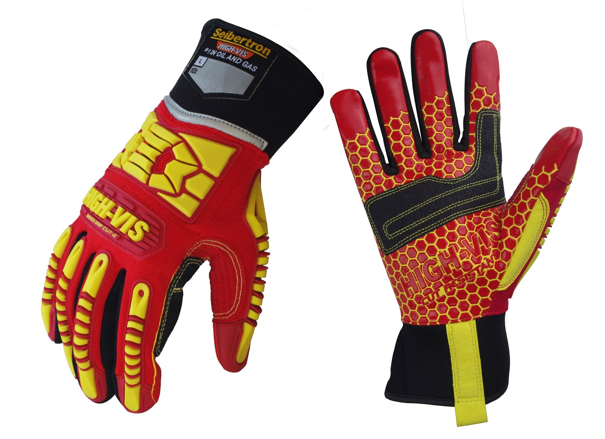 Seibertron HIGH-VIS HRC5 Rigger Excellent Grip Cut5 Handyman/Box Handler Gloves Abrasion Resistant Oil & Gas Drilling Safety Impact Protection Gloves CE EN388 3541 L