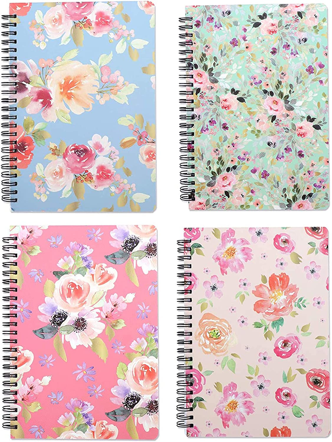 Yansanido 4 Pack 160 Pages Spiral Notebook Journal Hardcover 8.26 x 5.9 Inch (A5) College Ruled Lined Notebook White Paper for Students Office School Supplies(style 6- Flower 4 pack)