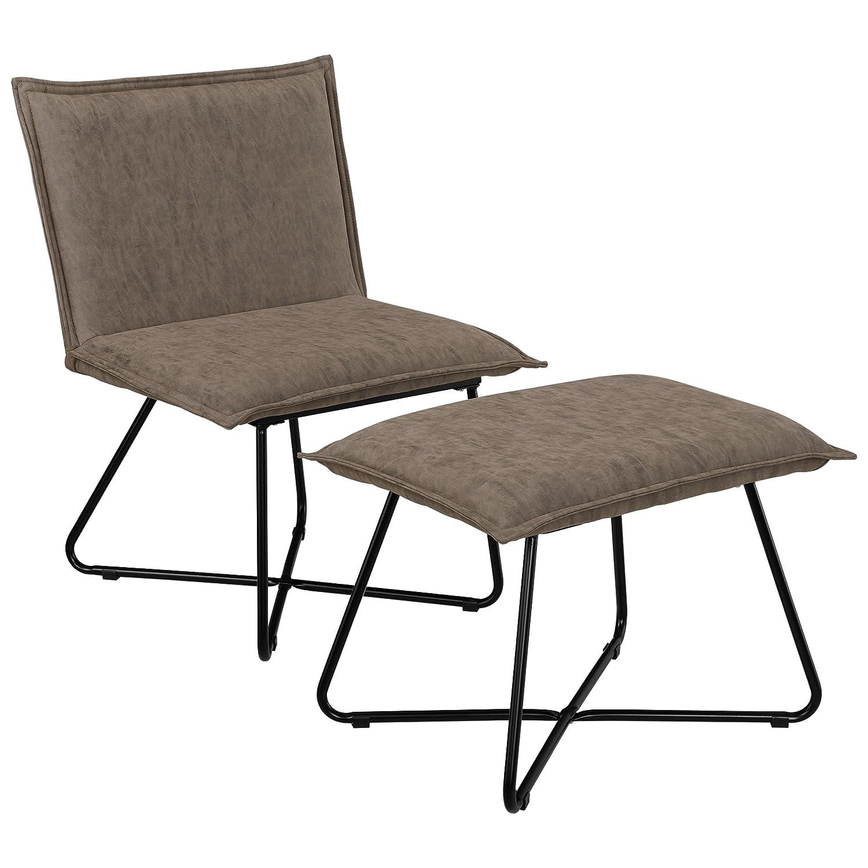 [en.casa]®] Sillón Estable con Taburete reposapiés - Set en marrón - imitación de Ante - Estructura de Hierro