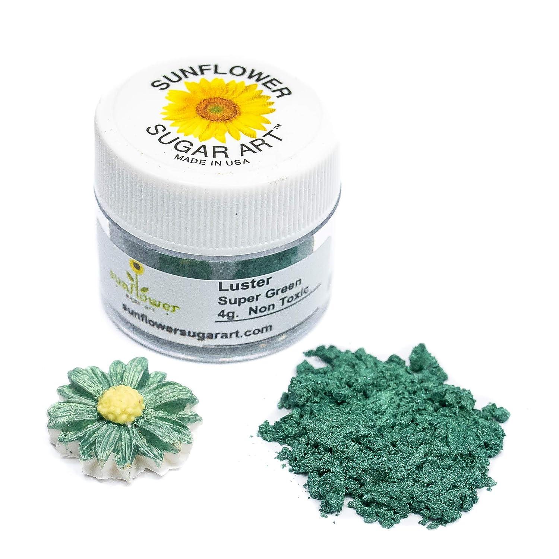 Super Green Edible Luster Dust   Edible Powder & Dust   Food Grade Luster Dust for Decorating, Fondant, Baking   Polvo Matizador   Cakes, Vegan Paint, & Dust   Sunflower Sugar Art
