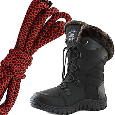Women's Comfort Round Toe Mid Calf Hiking Outdoor Ankle High Eskimo Winter Fur Snow Boots Red Black