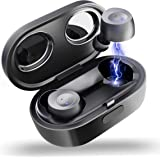 ELECDER D10 True Wireless Earbuds Bluetooth 5.0 Headphones in Ear with Microphone, 3D Stereo Sound, IPX5 Waterproof, Charging Case for Workout, Running (Black)