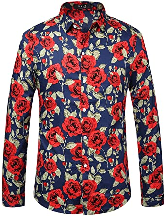 SSLR Men's Rose-Printed Button Down Casual Long Sleeve Shirt at ...