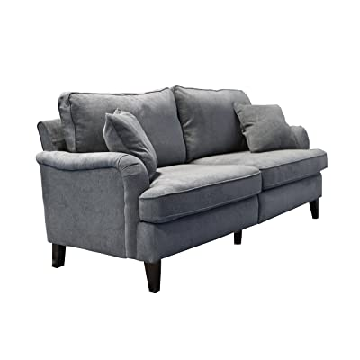 """Serta Carlisle 85"""" Sofa with Pleated Arms in Gray"""
