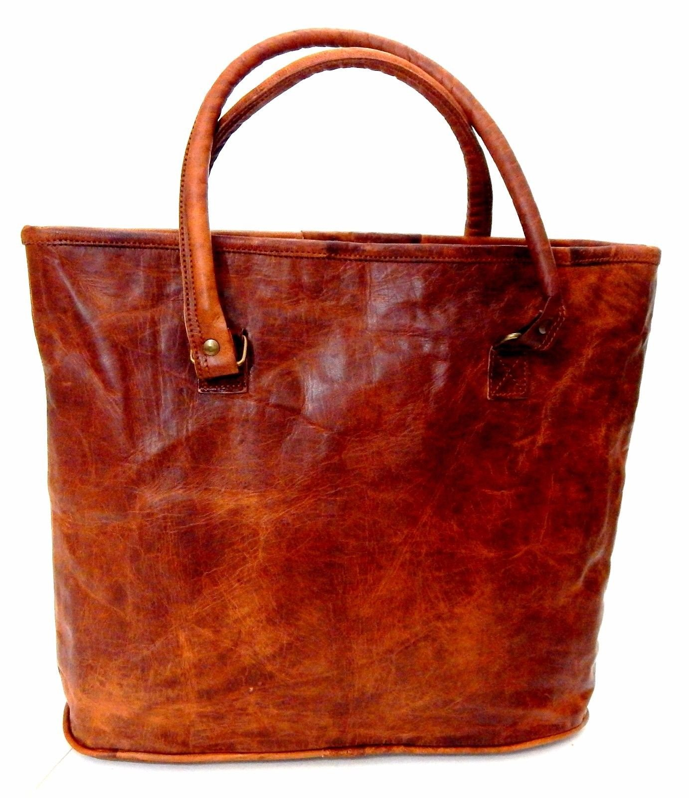 Firu-Handmade 16'' Women Vintage Rustic Retro Style Genuine Brown Leather Tote Shoppers Shoulder Bag Handmade Purse