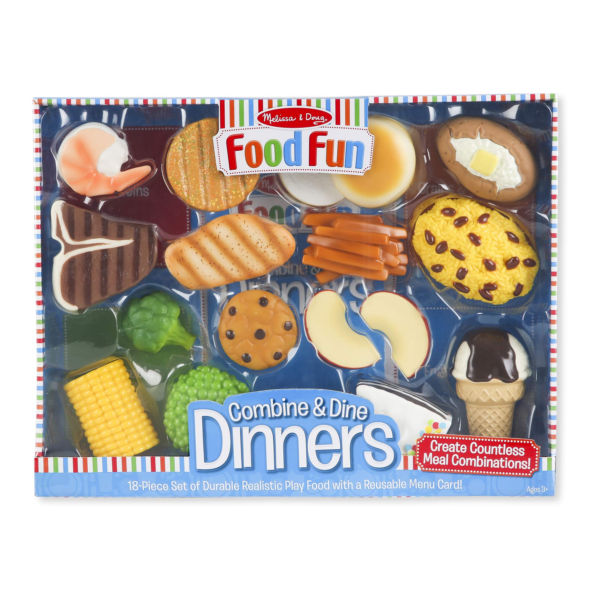 Melissa & Doug Food Fun Combine & Dine Dinners (Play Food Set, Great Gift for Girls and Boys - Best for 3, 4, 5 Year Olds and Up) by Melissa & Doug