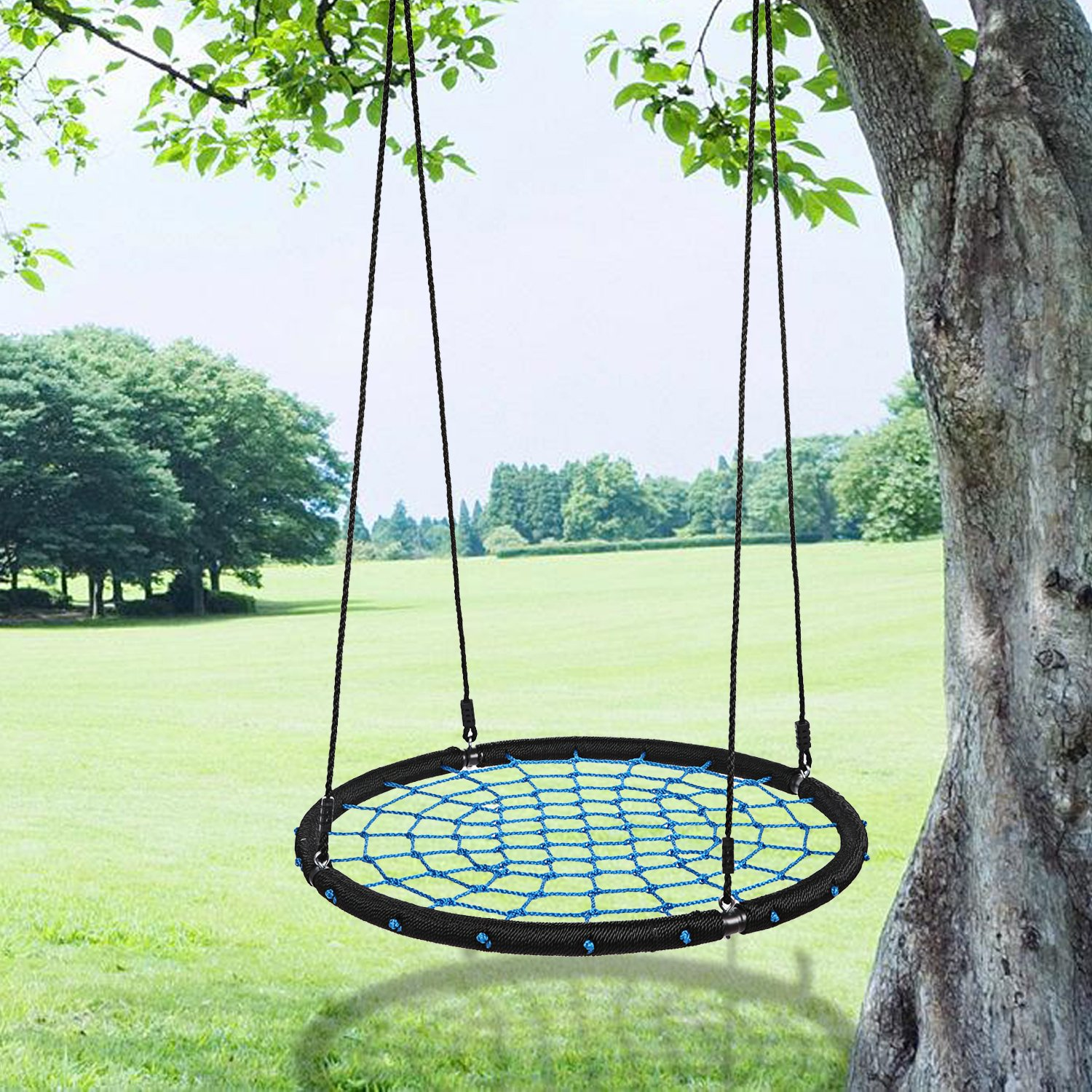 Outdoor Net Swing 39inch Diameter Foldable 2 Person Tree Swing for Garden Kids Children Boys Girls by PEATAO (Image #2)