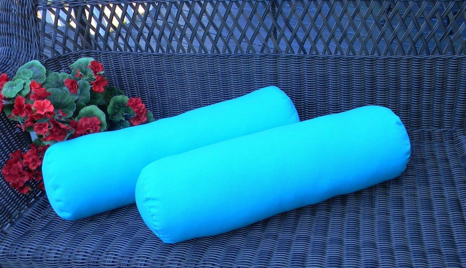 Set of 2 Indoor / Outdoor Decorative Bolster / Neckroll Pillows - Solid Cancun Atlantis Blue