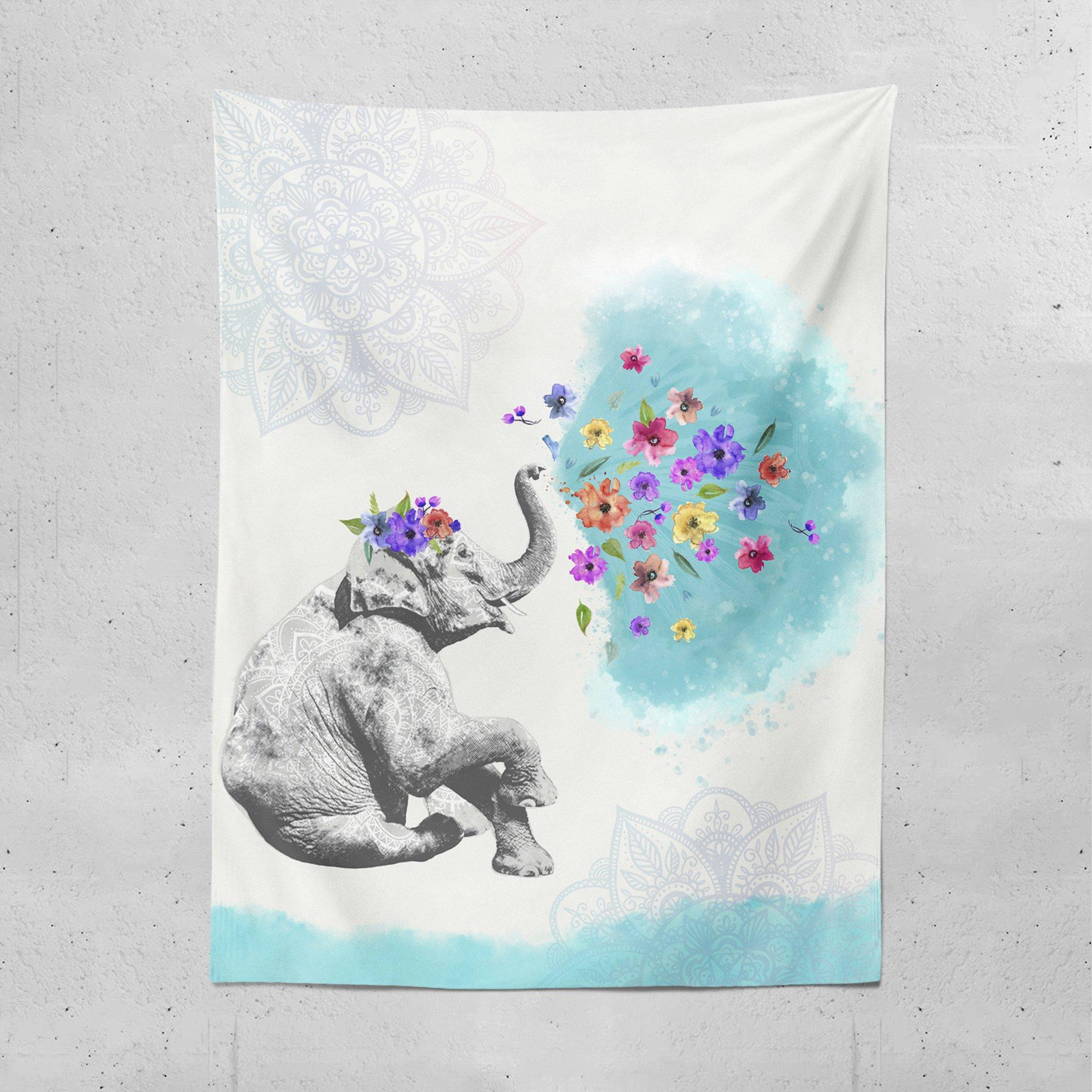 Lume.ly - Cute Mandala Elephant Wall Hanging Tapestry For Bedroom or Beach, Bohemian, Unique Elegant Designer Vibrant Art Decor Home Tapestries, (Aqua Blue White Pink Purple) (60x80 inches)