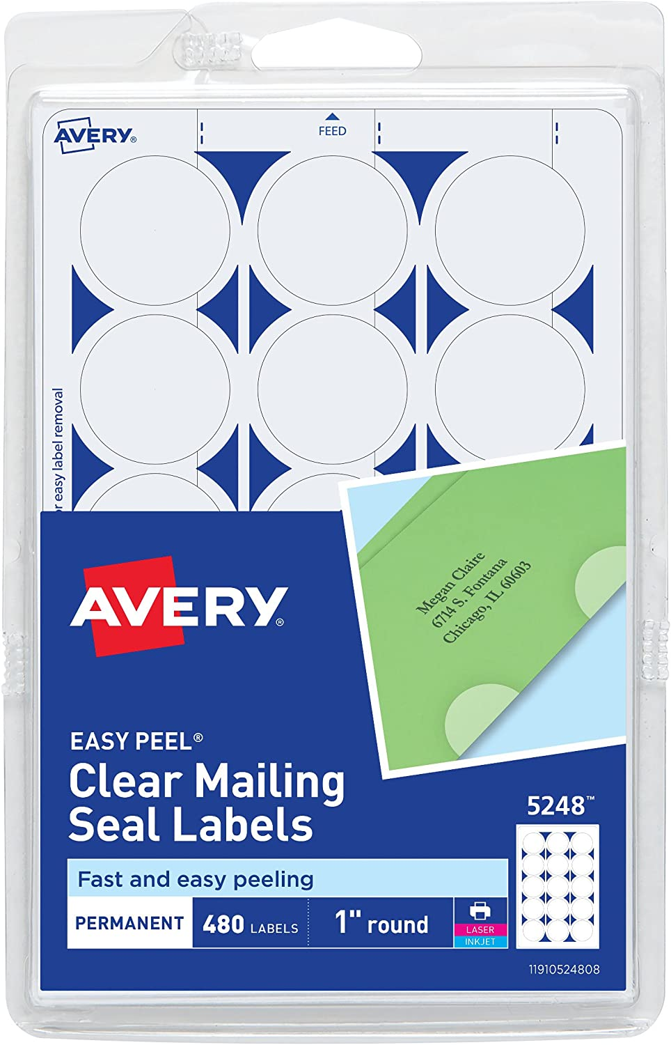 Mailing Seals Clear Wafer Shape 1-Inch Circles 1000 per Roll by MESS