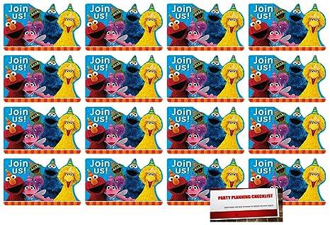 Amazon.com: 16 invitaciones de postal de Sesame Street para ...