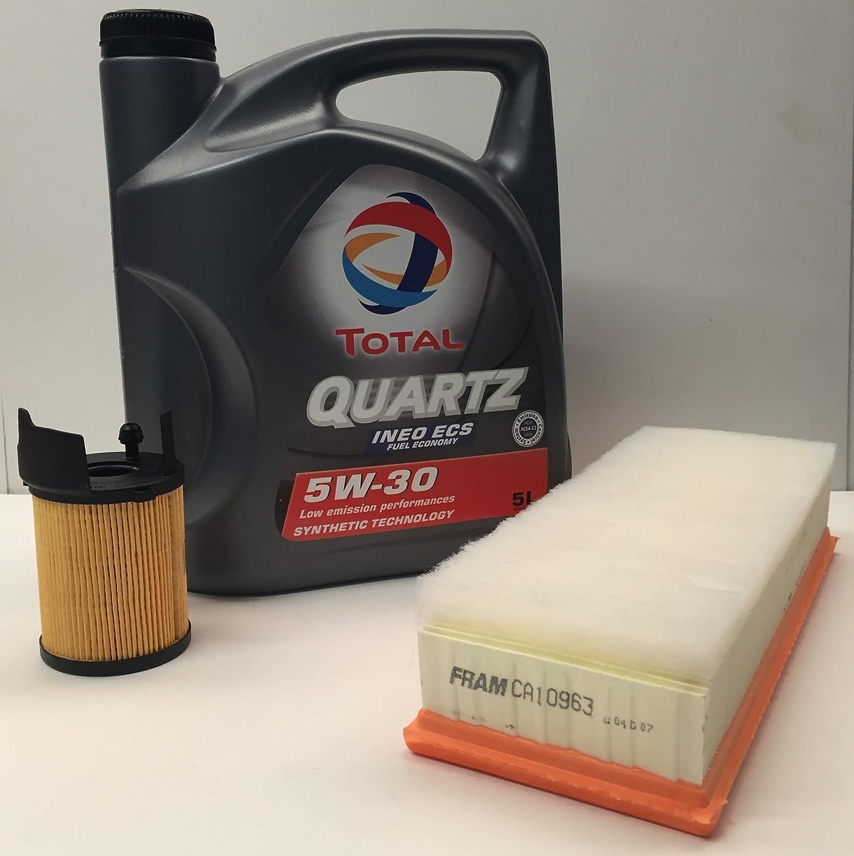 PACK Aceite de motor TOTAL QUARTZ INEO ECS 5W30 5 litros + Filtro aire/aceite MOTORES 1.6HDi de CITROEN/PEUGEOT TOTAL ELF