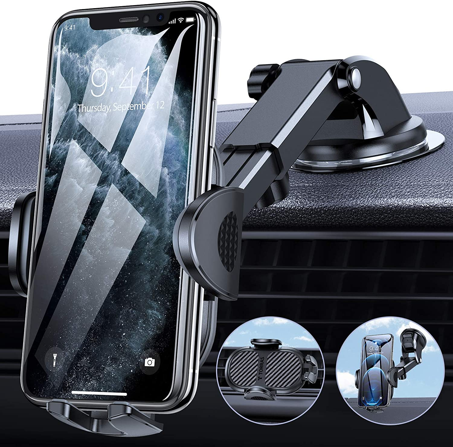 TORRAS Cell Phone Holder for Car [Thick Case & Big Phone Friendly] 3 in 1 Car Phone Holder Mount Dashboard Air Vent Windshield Compatible with iPhone 12 11 Pro Max Samsung Galaxy Note S21 Ultra