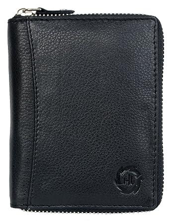 725ece24df676 Herren Schwarzes Leder Portemonnaie - Geldbörse HL mit Reißverschluss um