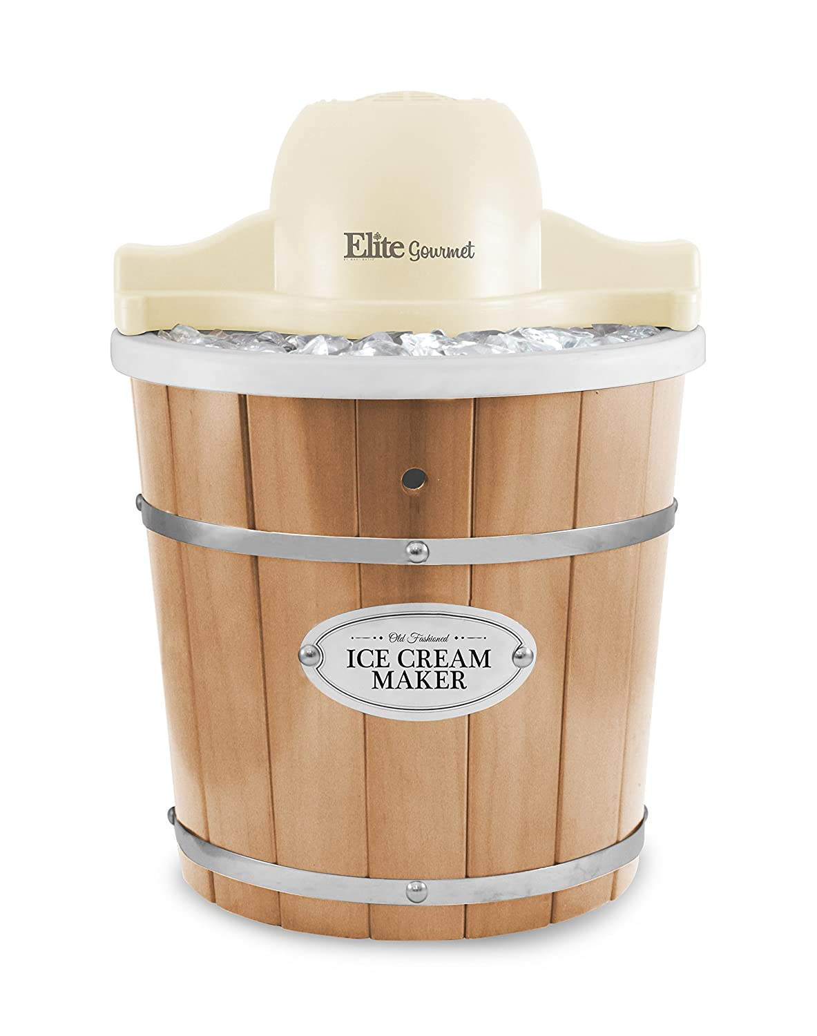 Elite Gourmet EIM-924L 4 Quart Old Fashioned Bucket Electric Ice Cream Maker, One Size, Pine