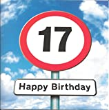 Twizler 17th Birthday Card For Teenager - Roadsign - 17 Year Old – Age 17