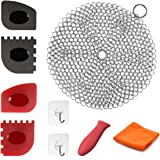 Cast Iron Cleaner 9 Packs Miker XL 7 x 7 Best Quality 316L Stainless Steel Chainmail Scrubber for Skillets Cast Iron Pan With Silicone Hot Handle Holder + 2 x Pan Scraper + 2 x Grill Scraper + Kitchen Towel + 2 x Wall Hook (Round)