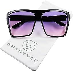 b127f25495 ShadyVEU - X Large Kim K Trapezoid Square Oversize Oceanic Lens Flat Top  Aviator Sunglasses