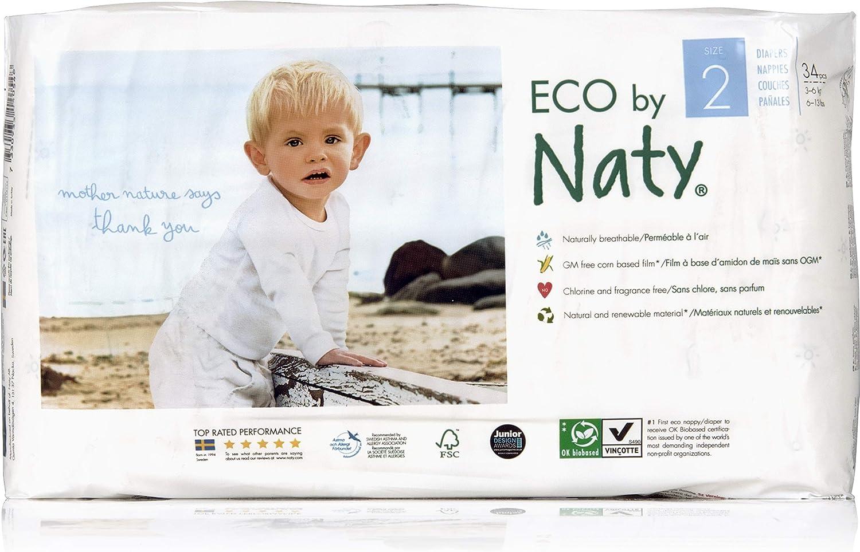 Gr/ö/ße 2 Naty by Nature Babycare /Ökowindeln 3-6 Kg 4er Pack 4x 34 St/ück