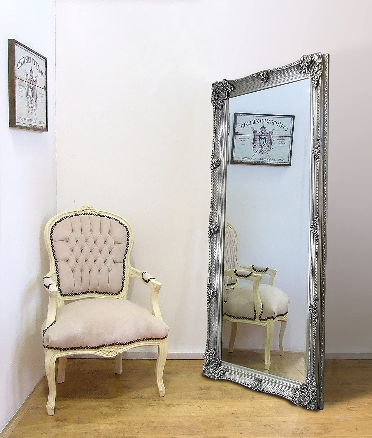 Barcelona Trading Abbey Large Full Length Shabby Chic Vintage Leaner Mirror White 32