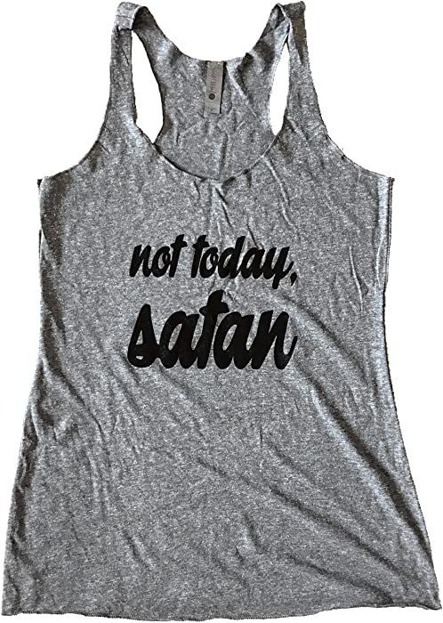 1a495a152 The Bold Banana Women's Not Today Satan Tank Top - S - Heather Grey at  Amazon Women's Clothing store: