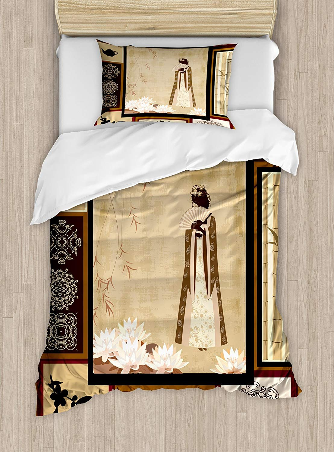 Twin XL Extra Long Bedding Set, Japanese Duvet Cover Set, Girl in Traditional Dress and Cultural Patterns Ornaments Antique Eastern Collage, Cosy House Collection 4 Piece Bedding Sets
