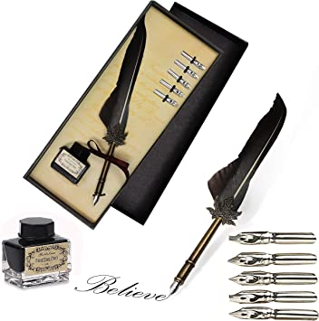 Dip Pen Kalligraphie Feder Dip Quill Pen schreiben Tinte Set mit 5 Ersatzspitzen