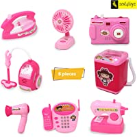 Zest 4 Toyz Battery Operated 8 Pieces Household Home Appliances Play Set Toys for Girls with Realistic Sound-Washing Machine , Sewing Machine, Vacuum Cleaner, Fan, Hair Dryer, Camera, Telephone & Iron
