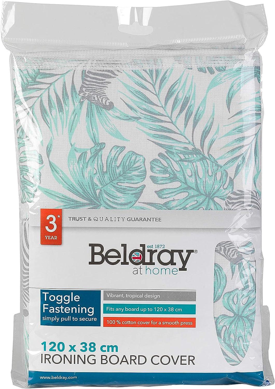 Mit Bezug aus 100//% Baumwolle mit Aufdruck Beldray LA063052AS B/ügelbrett |120/x/38/cm Grau 120 x 38 cm