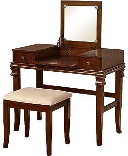 Linon Vanity Set, Angela Walnut
