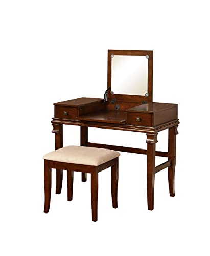 Linon 98373WAL-01-KD-U Vanity Set, 30 x 36 x 18 , Walnut