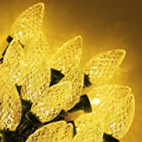Twinkle Star C9 Christmas String Lights, 50 LED 33ft Outdoor Fairy Lights with 29V Safe Adaptor, Extendable Green Wire String