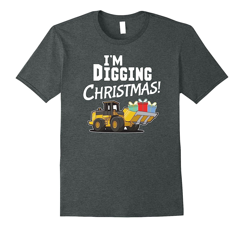 Kids I\'m Digging Christmas Shirt Holiday Tractor Tee-ANZ - Anztshirt