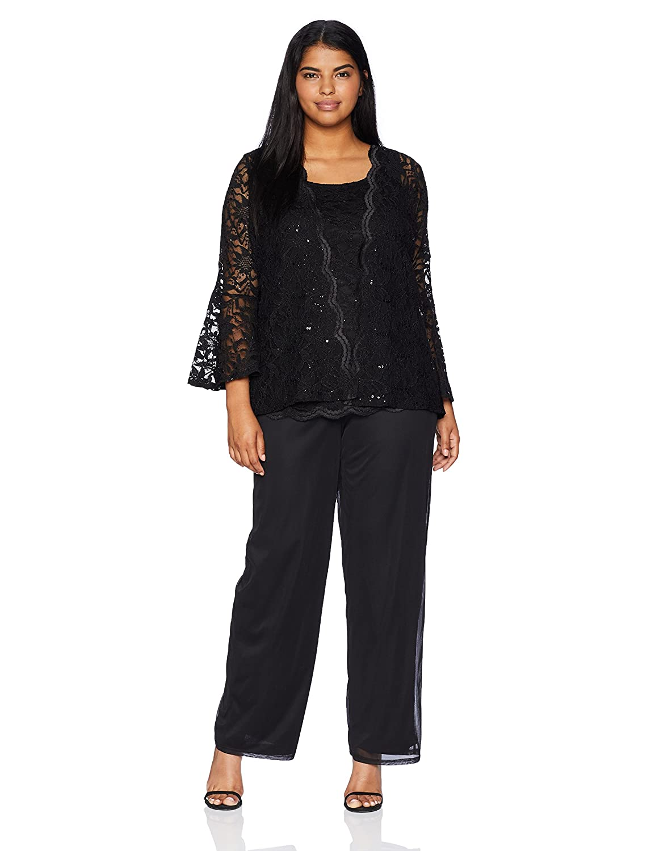 Black T I A N A B. Women's Size Plus 3 Pc Pant Set